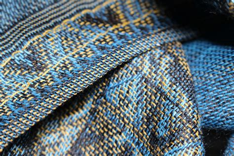 pattern woven into fabric free photo fabric woven blue gold pattern free