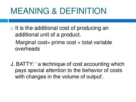 marginal costs marginal cost accounting
