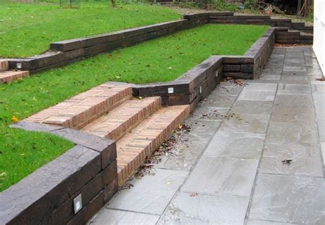 Sleeper Wall Design by Marc S Retaining Wall With Used Oak Railway Sleepers