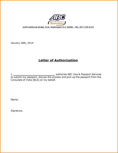 authorization letter to up passport canada authorization letter behalf authorization letter pdf