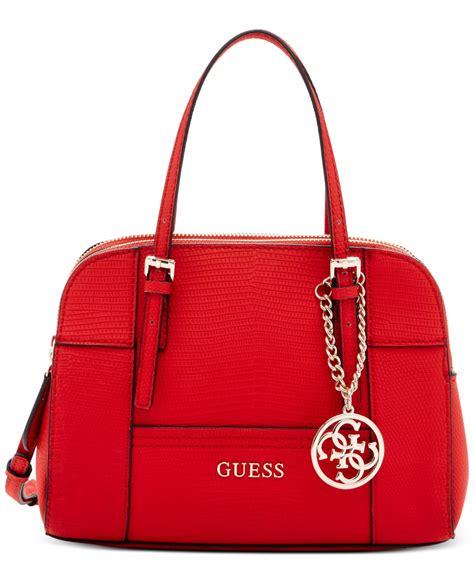 huntley series guess handbag guess huntley mini satchel in chili lyst