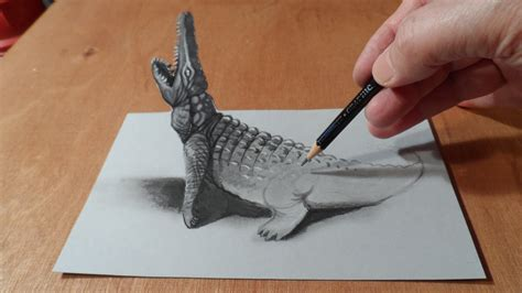 3d Drawing by Trick Drawing 3d Crocodile
