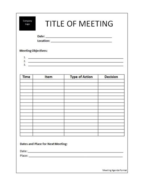 meeting template free agenda templates new calendar template site