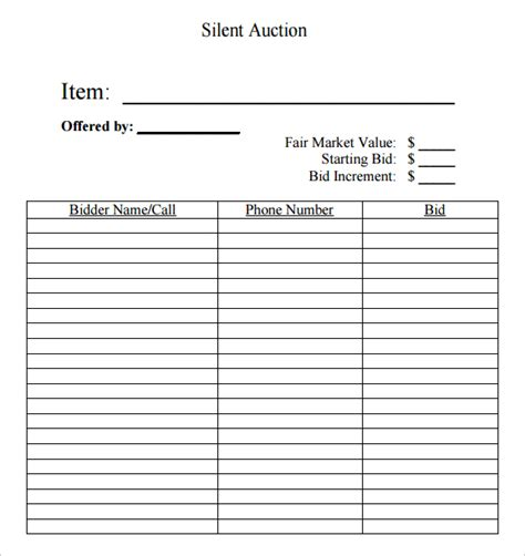 auctions bid search results for silent auctions templates word