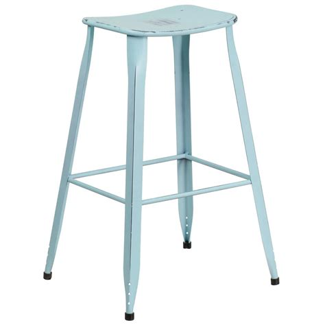 Distressed Blue Bar Stools by Flash Furniture 29 75 In Distressed Blue Bar Stool