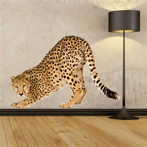 wsd148 large cheetah removable wall sticker animal animal print wall decals larger size leopard by
