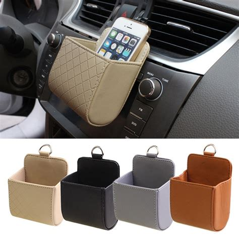 Sale Car Storage Bag Tas Mobil Penyimpanan pu leather cars vehicle trash mobile phone storage holder pouch bag organizer zd ebay