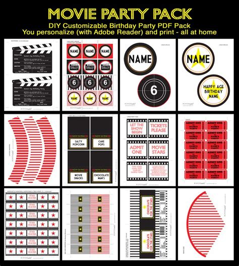 printable movie party decorations movie night party printables hollywood party pinterest