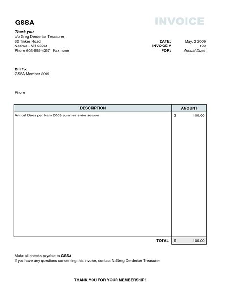 simple invoice form free excel templates