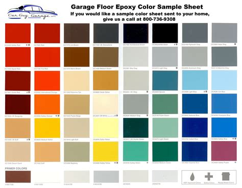 epoxy floor coating sle color sheet
