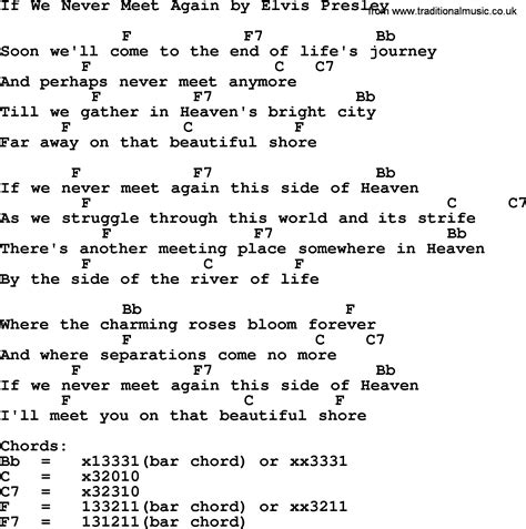 if we never meet again by elvis lyrics and chords