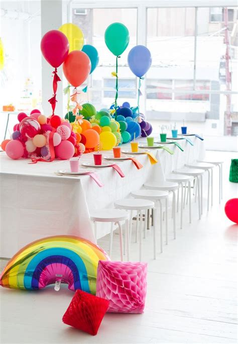 A Rainbow Baby Shower Oh Happy Day Parties Rainbow Themed Centerpieces