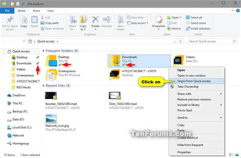 windows 10 quick tutorial pin or unpin quick access locations in windows 10 windows