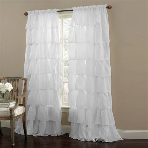 102 inch length curtains twopages solid beautiful ruffle white floral rod pocket