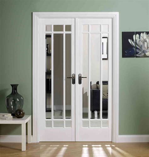 White Interior Doors With Glass Manatten White Interior Door Pair