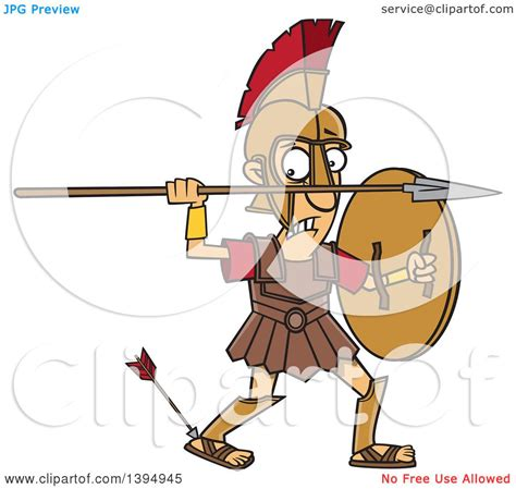 clipart of a cartoon greek god achilles with an arrow in