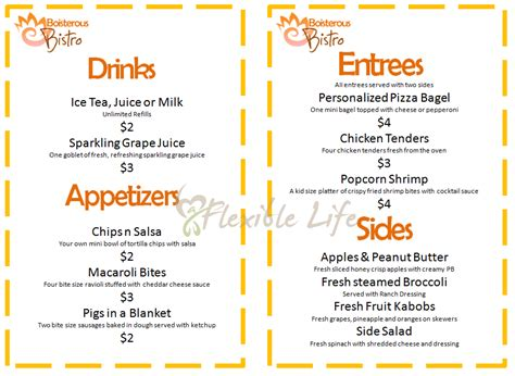 printable toddler menu the inside of the menu for our restaurant night free