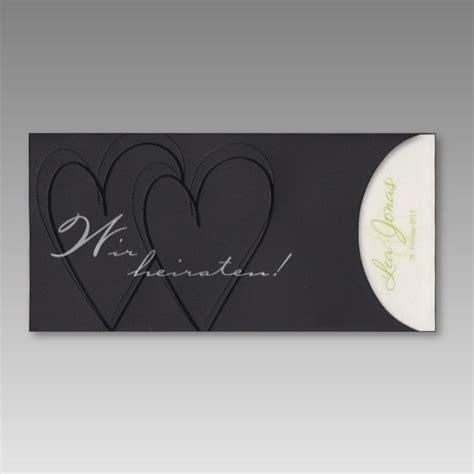 Hochzeitseinladungen Schwarz by Edle Schiebe Einladungskarte Zur Hochzeit In Schwarz