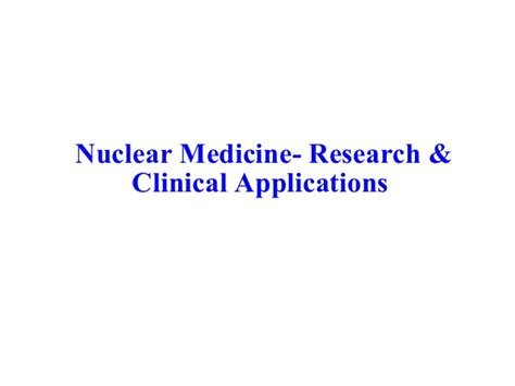 Mba Degree Nuclear Medicine Technology by Nuclear Medicine
