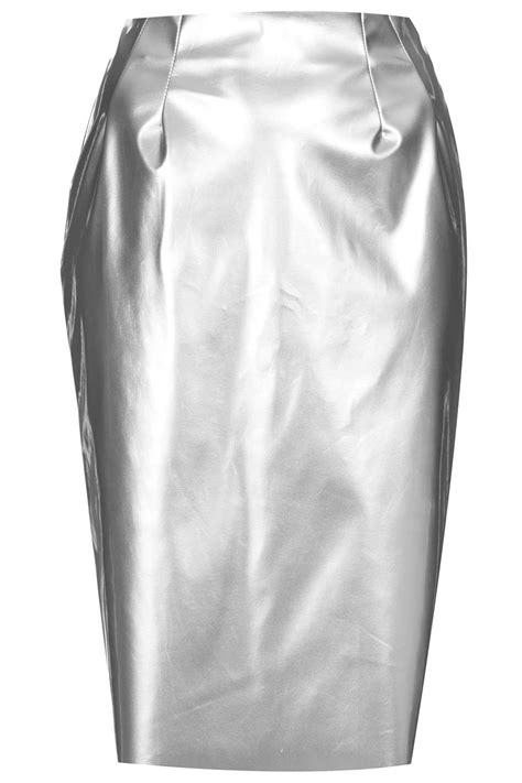 topshop silver vinyl pencil skirt in metallic lyst