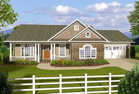 Ranch 3 Bedroom House Plans by 3 Bedroom Ranch With Covered Porches 20108ga