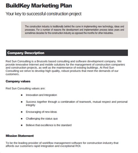 construction business plan template 11 download free
