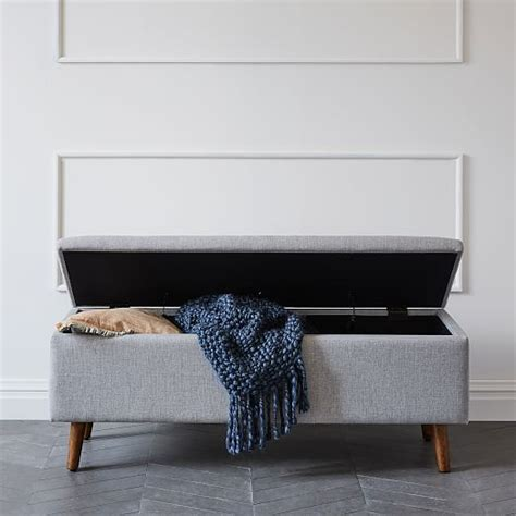 storage bench west elm mid century storage bench west elm