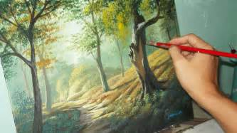 Landscape Pictures For Acrylic Painting Acrylic Landscape Painting Lesson Forest Trees By