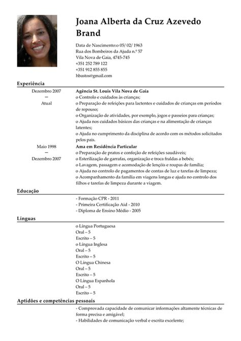 Modelo Curriculum Vitae Em Portugues Curriculum Vitae Modelo Em Portugues