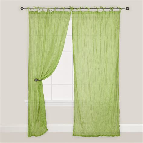Green Crinkle Voile Cotton Curtain World Market