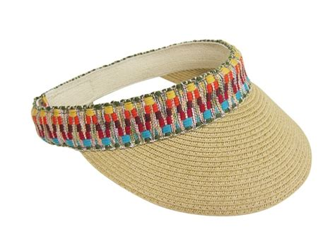 Bande Velcro 2939 by 543 Straw Visor With Woven Tribal Band