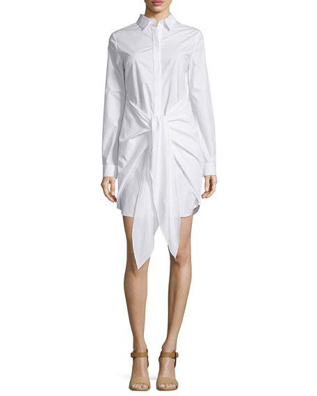 Valino Avocado Tie Front nicholas sleeve tie front shirtdress white neiman