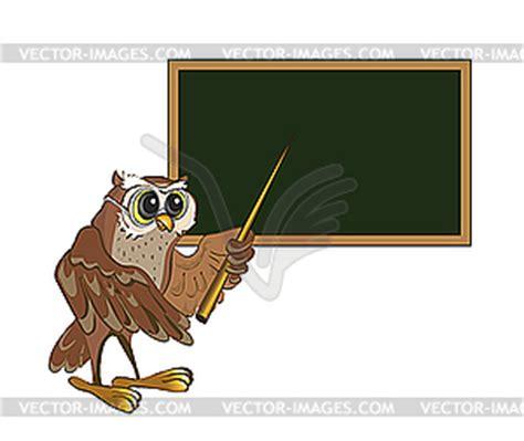 lehrer an der tafel eule lehrer steht an der tafel vektor clip