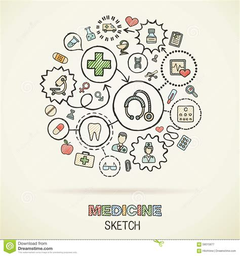 doodle draw the medicine draw sketch icons stock vector image 58015877