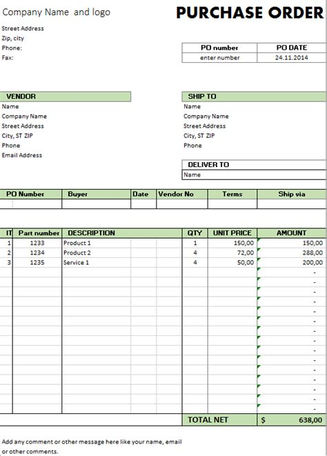 Purchase Order Template Cyberuse Microsoft Excel Purchase Order Template