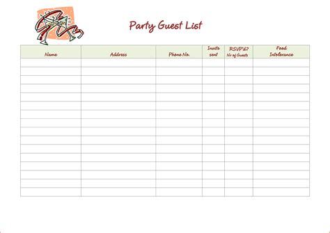 5 party guest list template bookletemplate org