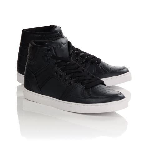 black high top sneakers mens mens black eyelet high top trainers