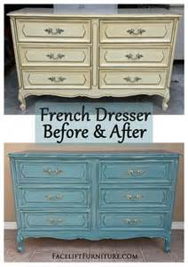Sea blue french dresser amp chest before amp after