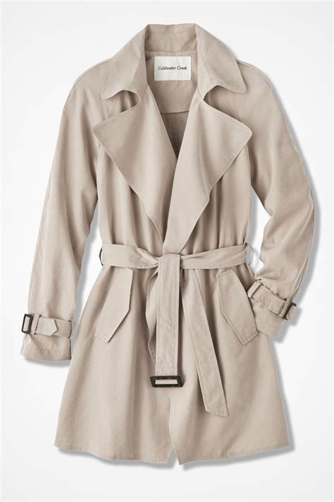 draped trench coat the draped trench coat coldwater creek
