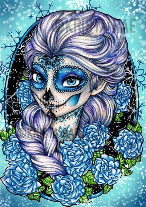 queen elsa tattoo princess elsa sugar skull print disney rose tyler and
