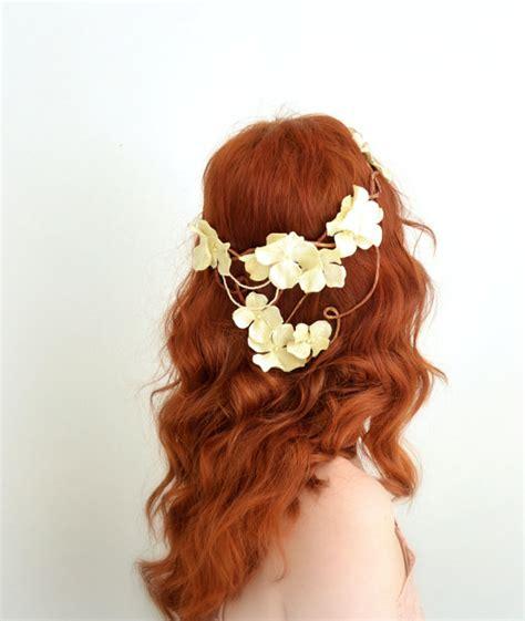 Diane Flower Headpiece bridal crown ivory floral headpiece woodland circlet wedding hair accessory diana 2299880