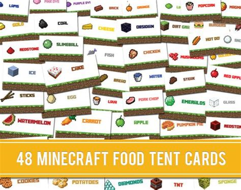 food tent cards template 48 unique minecraft food tent labels cards by