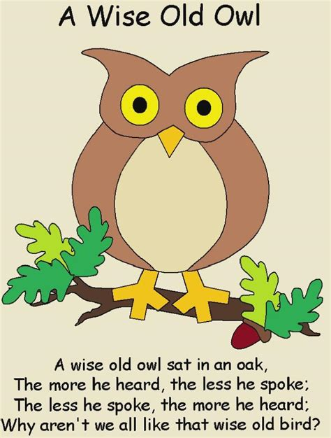 A Wise a wise owl rhymes