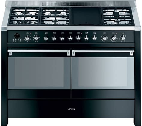 Oven Gas Stainless Uk 120 buy smeg opera a4bl 8 120 cm dual fuel range cooker black stainless steel free delivery