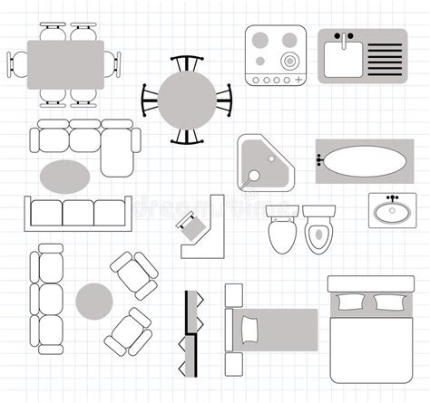floor plan furniture collection stock image image floor plan with furniture stock vector illustration of