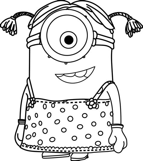 girl minion coloring page cartoons minions little girl coloring page wecoloringpage