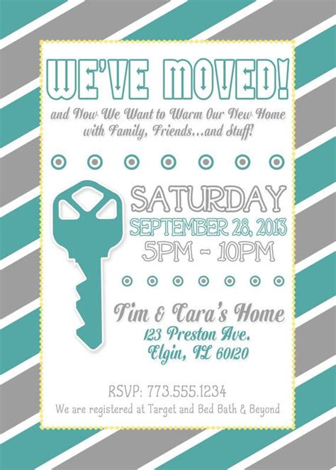 grey and yellow housewarming invitation
