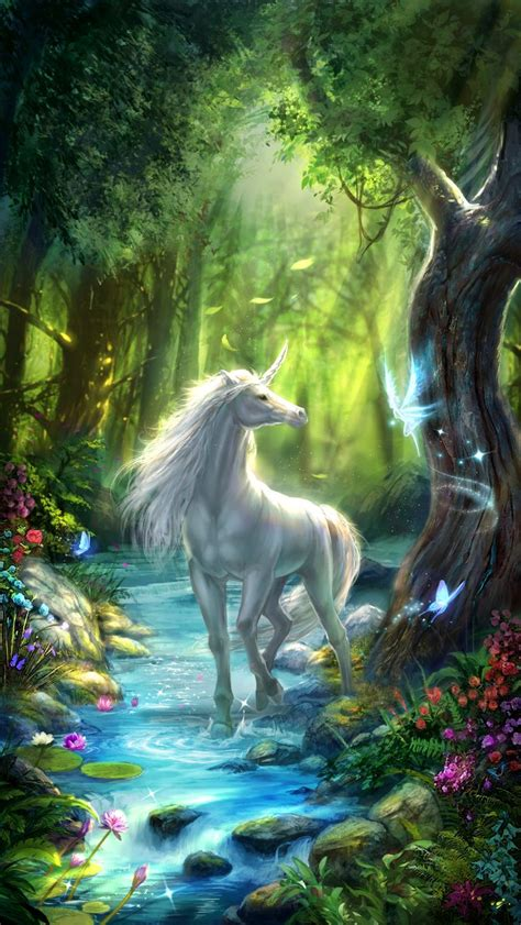 unicorn  wallpaper white unicorn   fairy forest
