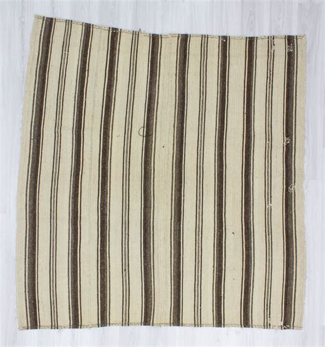 Brown And White Striped Rug by Handwoven Vintage Square Decorative Modern Brown And White