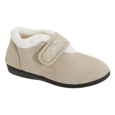 fleece house shoes womens ladies touch fastening fleece lined slippers ebay